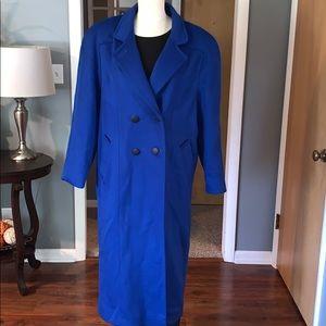 Cobalt blue wool trench coat woman's 16